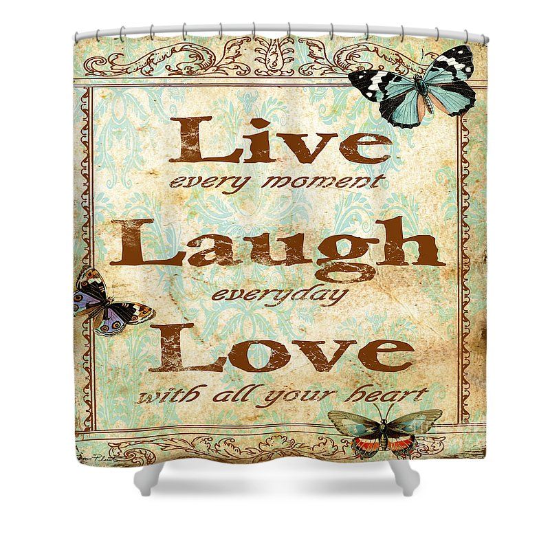 Digital Art Shower Curtain Featuring The Painting Live Laugh Love Jp3217 By Jean