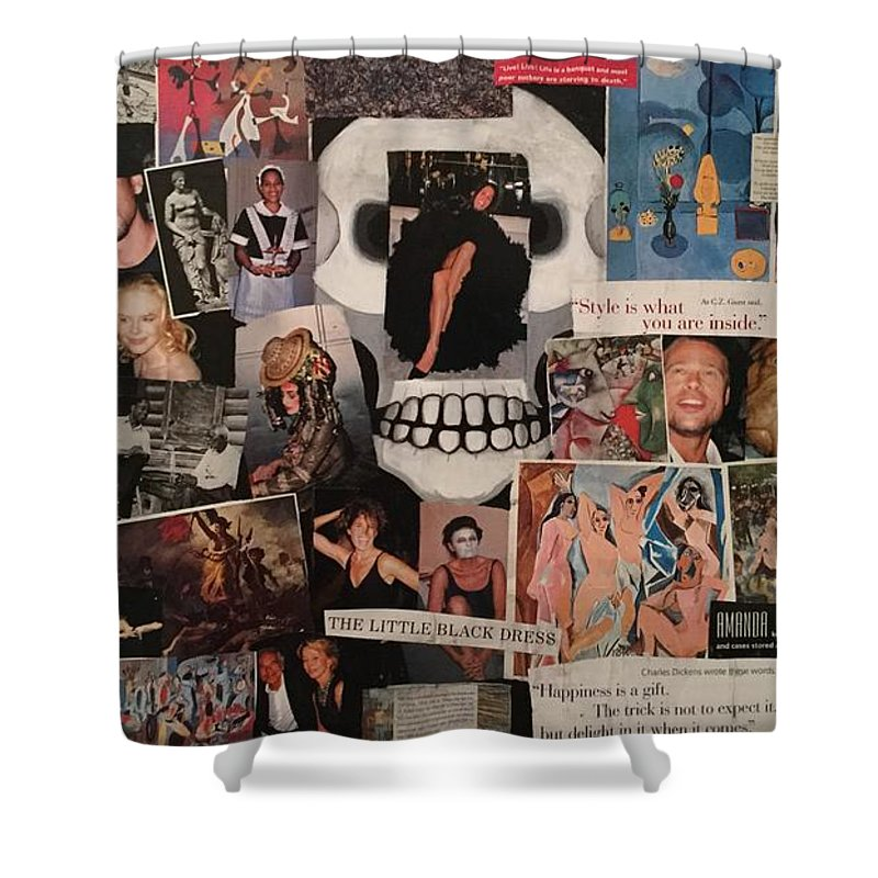 Collage Shower Curtain featuring the painting Live by Mike King