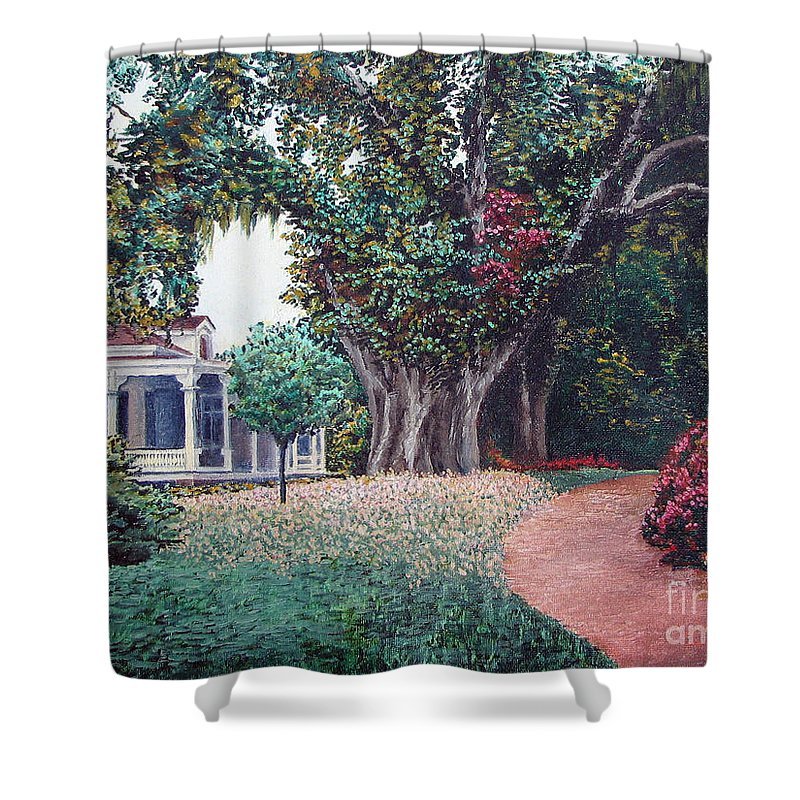 Landscape Shower Curtain featuring the painting Live Oak Gardens Jefferson Island La by Todd A Blanchard