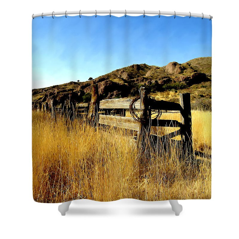 Southwestern Shower Curtain featuring the photograph Livery Fence At Dripping Springs by Kurt Van Wagner