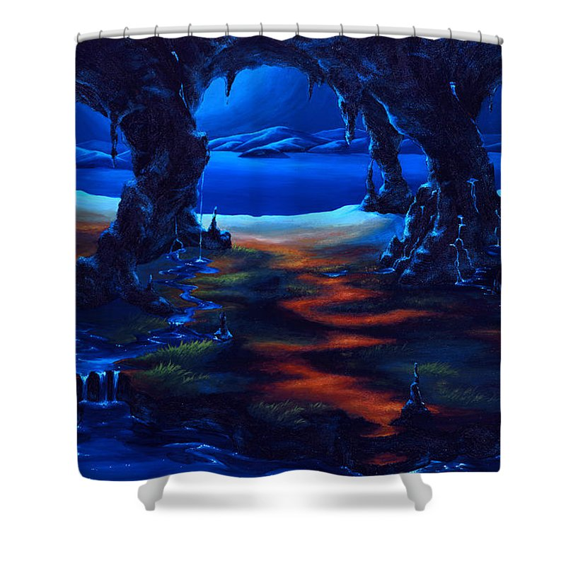 Textured Painting Shower Curtain featuring the painting Living Among Shadows by Jennifer McDuffie