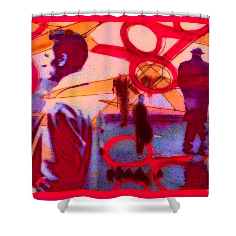 Living Cutouts Drifting Into The Spirit World/we Are All Born Asleep Shower Curtain featuring the digital art Living Cutouts Drifting Into The Spirit World/we Are All Born Asleep by Tony Adamo