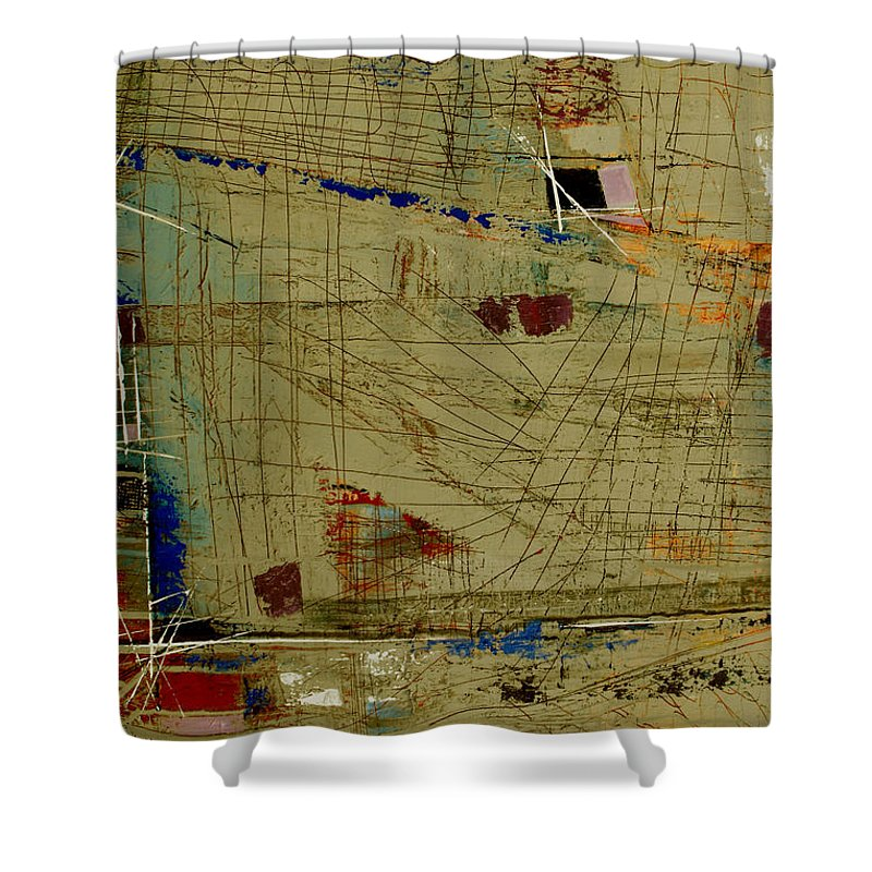 Abstract Shower Curtain featuring the painting Living Dangerously by Ruth Palmer