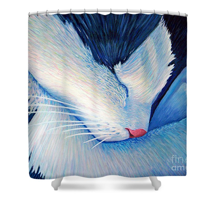 Cat Shower Curtain featuring the painting Living The Dream by Brian Commerford