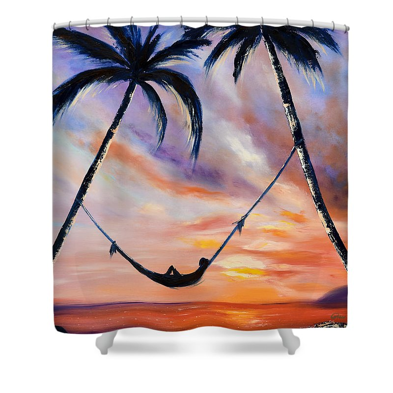 Sunset Shower Curtain featuring the painting Living The Dream by Gina De Gorna