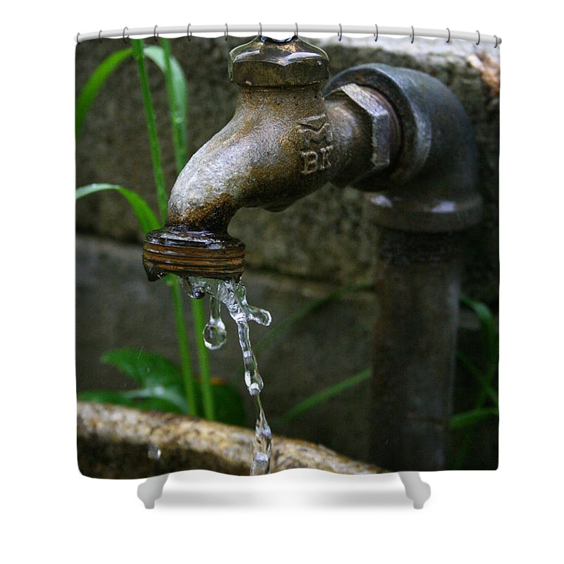 Water Faucet Valve Nature Garden Drop Dripping Red Wet Life Grow Nourish Rural Country Shower Curtain featuring the photograph Living Water by Andrei Shliakhau