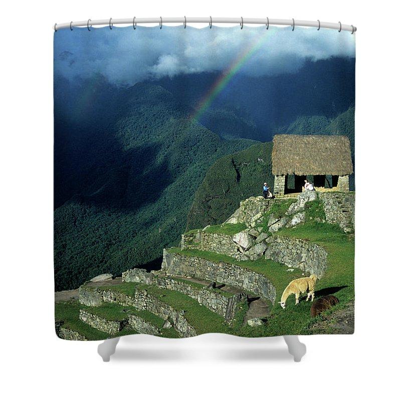 Machu Picchu Shower Curtain featuring the photograph Llama And Rainbow At Machu Picchu by James Brunker