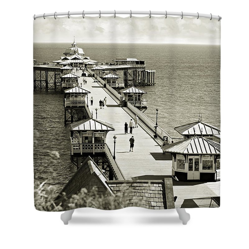Pier Shower Curtain featuring the photograph Llandudno Pier North Wales Uk by Mal Bray