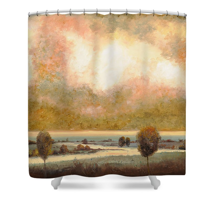Pond Shower Curtain featuring the painting Lo Stagno Sotto Al Cielo by Guido Borelli