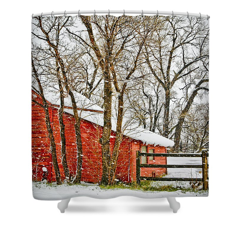 Americana Shower Curtain featuring the photograph Loafing Shed by Marilyn Hunt