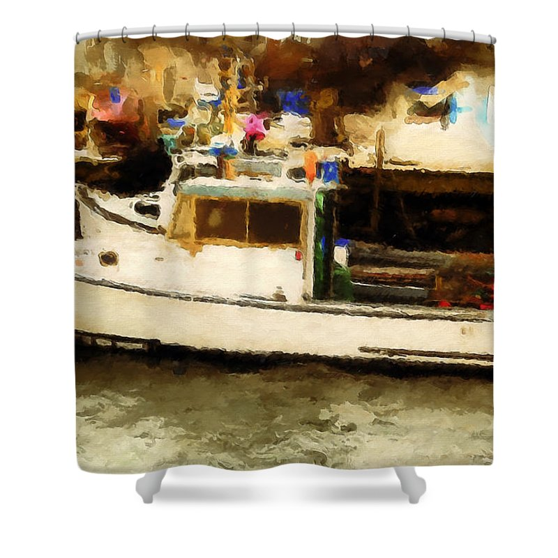 Lobster Shower Curtain featuring the photograph Lobster Boat Stonington Ct by Gary Nelson