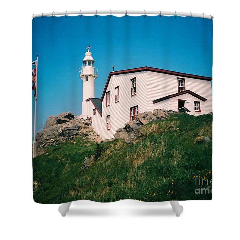 Lighthouse Shower Curtain featuring the photograph Lobster Cove Lighthouse by Donna Brown