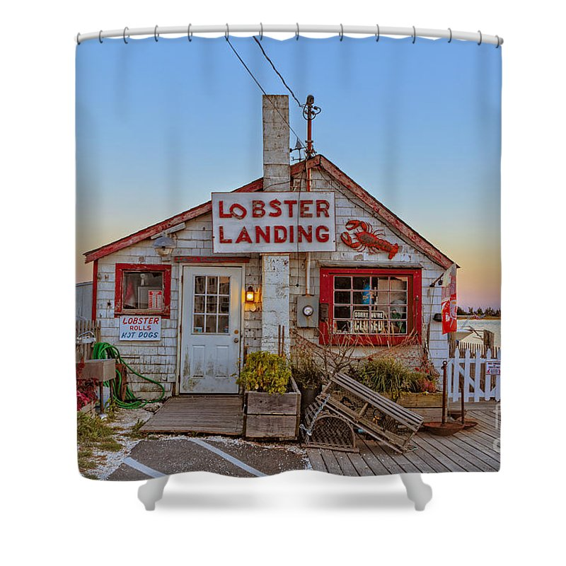 Lobster Shower Curtain featuring the photograph Lobster Landing Sunset by Edward Fielding