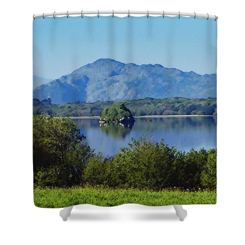 Irish Shower Curtain featuring the painting Loch Leanne Painting Killarney Ireland by Teresa Mucha