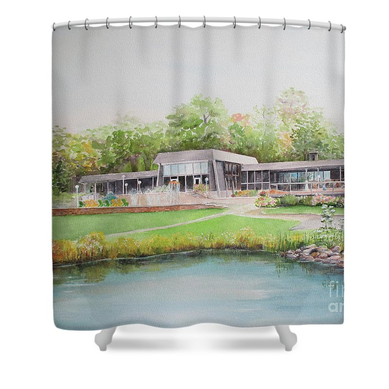 Loch Lomond Shower Curtain featuring the painting Loch Lomond Beach Clubhouse by Patricia Ricci