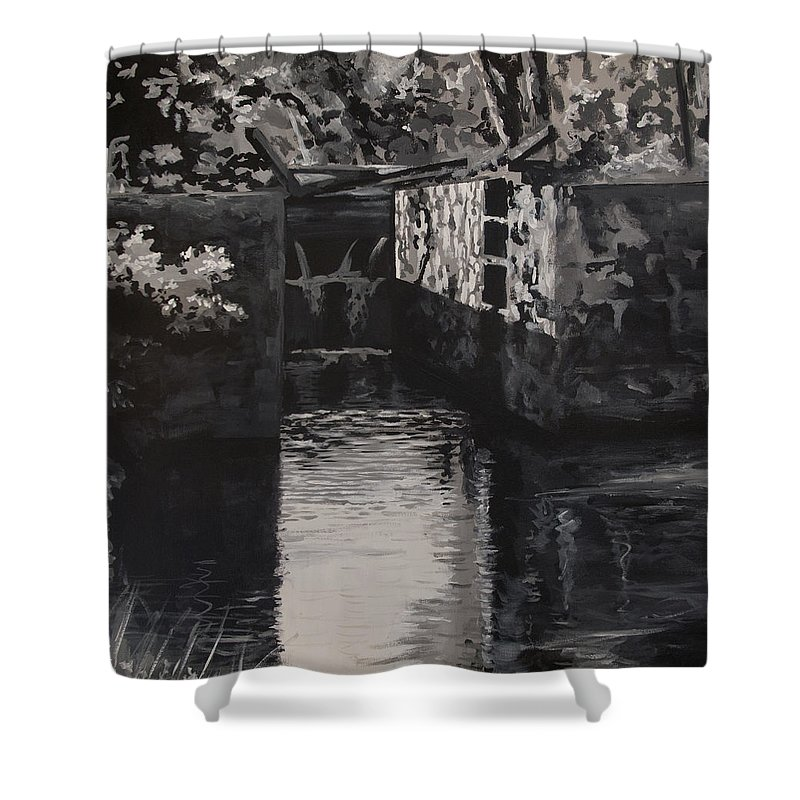 Realism Shower Curtain featuring the painting Lock 17 by Don Perino