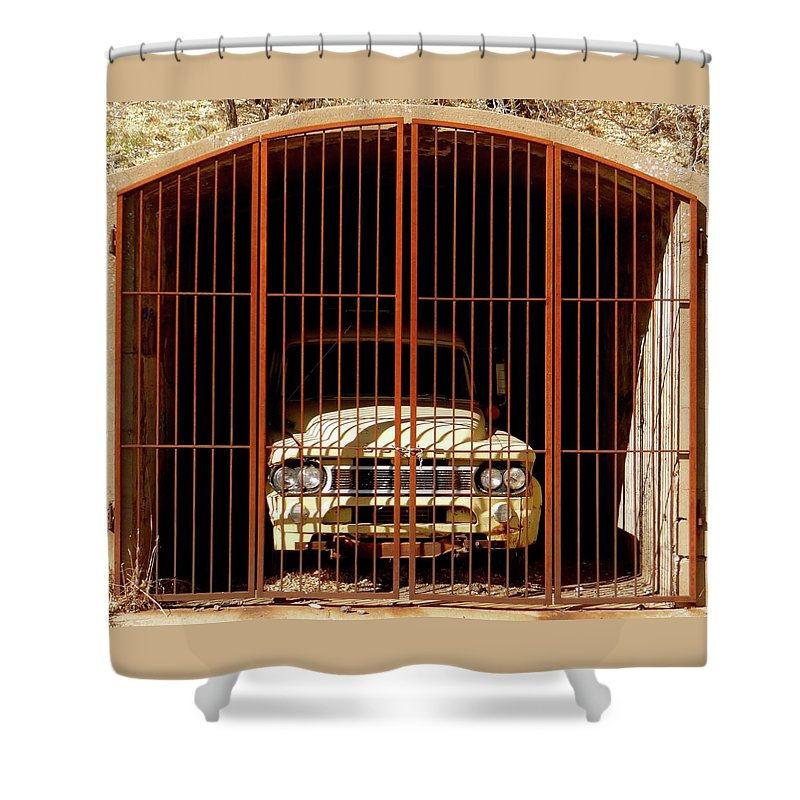 Truck Shower Curtain featuring the photograph Locked Up by Jenny Regan