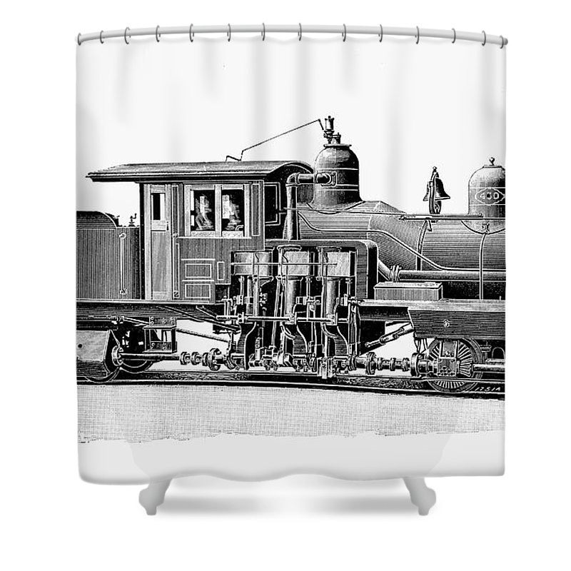 1893 Shower Curtain featuring the photograph Locomotive, 1893 by Granger