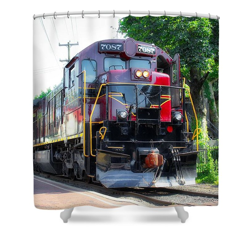 Trains Shower Curtain featuring the photograph Locomotive In Color by Todd Dunham
