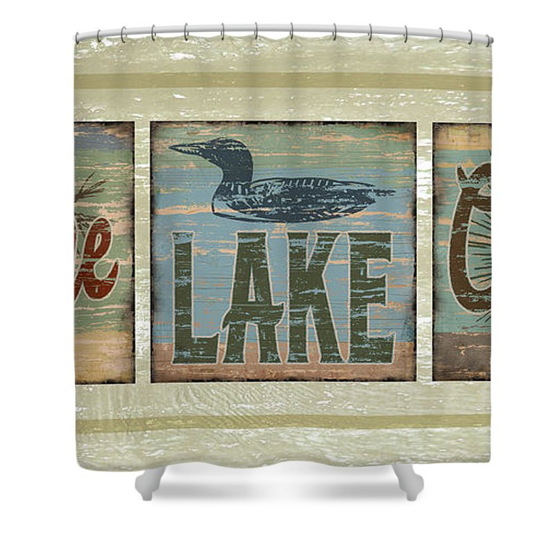 Joe Low Shower Curtain featuring the painting Lodge Lake Cabin Sign by JQ Licensing