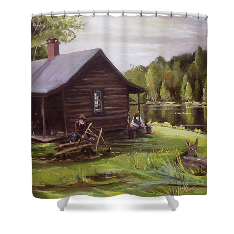 Log Cabin By The Lake Shower Curtain featuring the painting Log Cabin By The Lake by Nancy Griswold