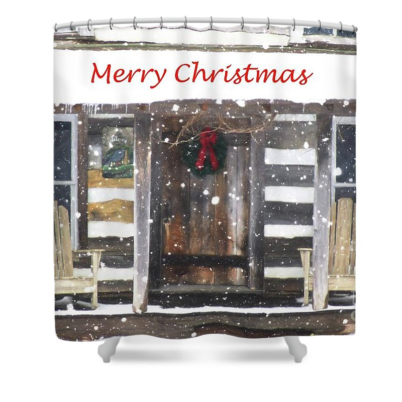 Christmas Shower Curtain featuring the photograph Log Cabin Christmas by Benanne Stiens