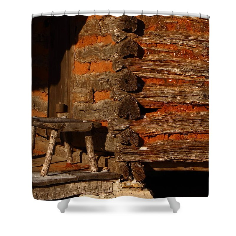 Building Shower Curtain featuring the photograph Log Cabin by Robert Frederick