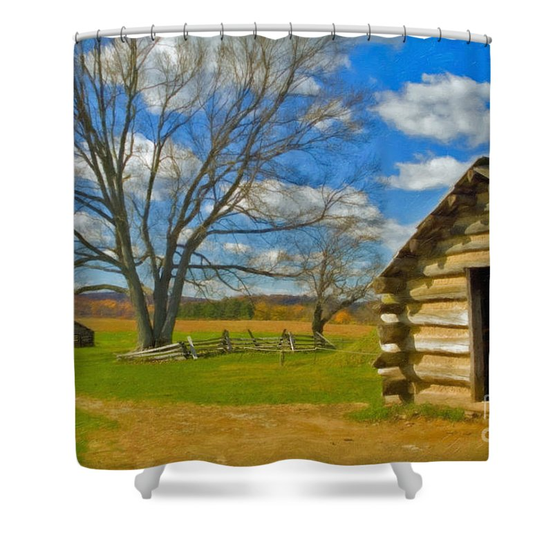 Valley Forge Shower Curtain featuring the photograph Log Cabin Valley Forge Pa by David Zanzinger