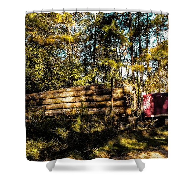 Woods Shower Curtain featuring the photograph Log Truck by Leon Hollins III