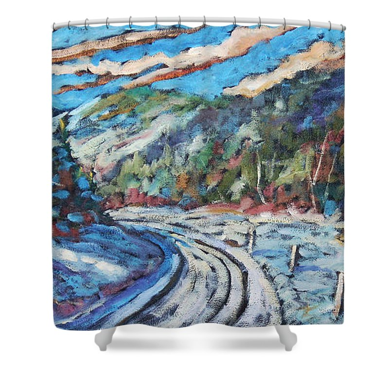 Loggers Shower Curtain featuring the painting Loggers Road by Richard T Pranke