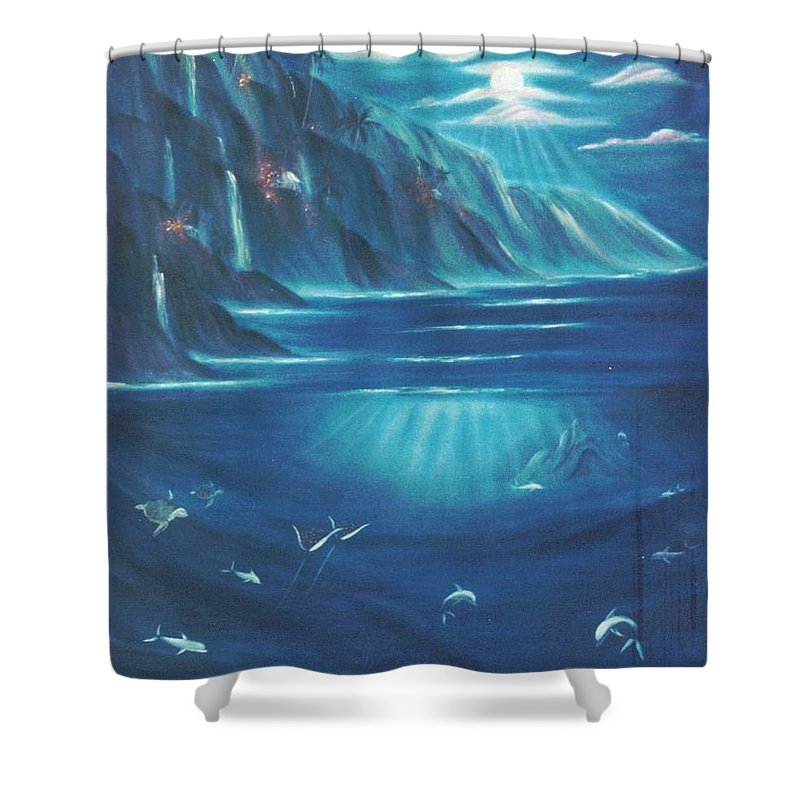 Seascape Shower Curtain featuring the painting Loihi Rising by Dina Holland