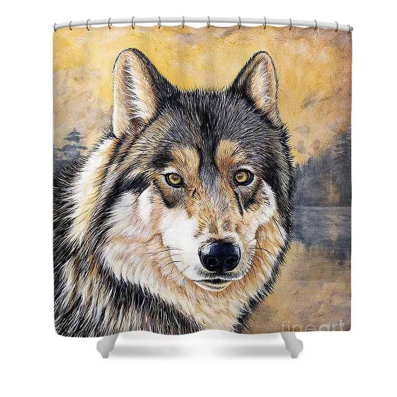 Acrylics Shower Curtain featuring the painting Loki by Sandi Baker