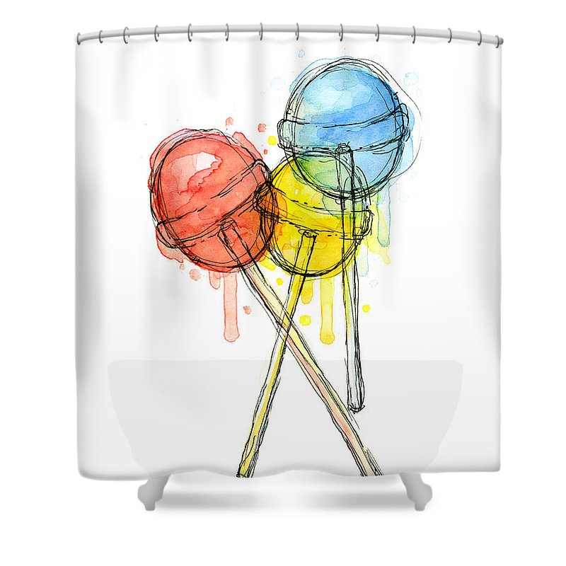 Lollipop Shower Curtain featuring the painting Lollipop Candy Watercolor by Olga Shvartsur
