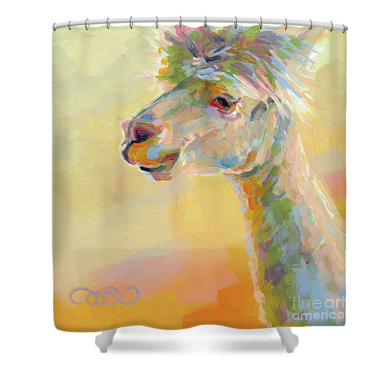 Llama Shower Curtain Featuring The Painting Lolly By Kimberly Santini