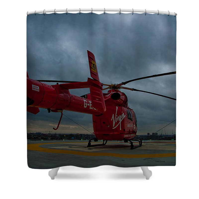 Air Ambulance Shower Curtain featuring the photograph London Air Ambulance by Dawn OConnor