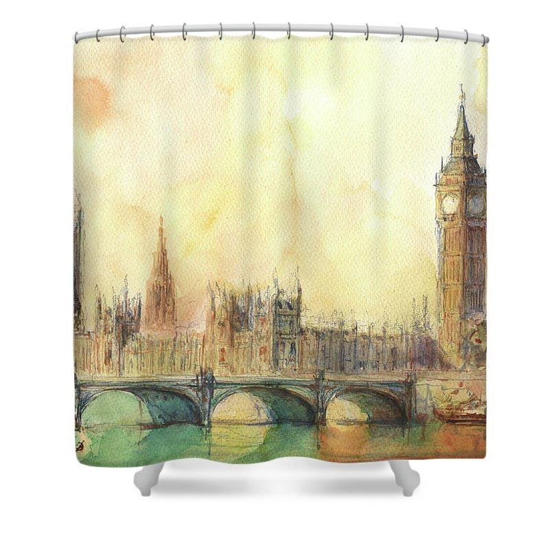 London Big Ben Shower Curtain Featuring The Painting And Thames River By Juan