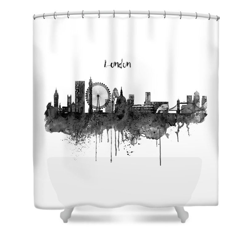 London Black And White Skyline Watercolor Shower Curtain