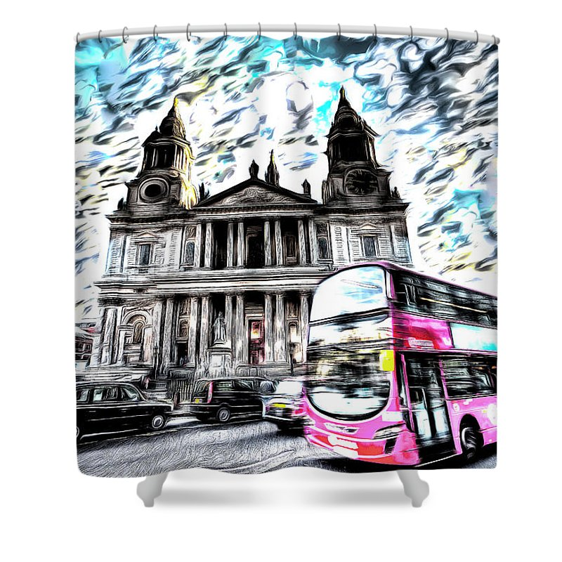 St Pauls Cathedral Shower Curtain featuring the mixed media London Classic Art by David Pyatt