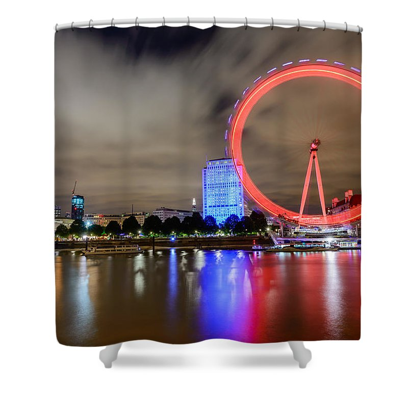 London Eye. London Shower Curtain featuring the photograph London Eye by Ivelin Donchev