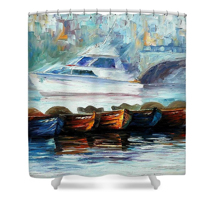 Art Gallery Shower Curtain featuring the painting London-fog Over Thames - Palette Knife Oil Painting On Canvas By Leonid Afremov by Leonid Afremov