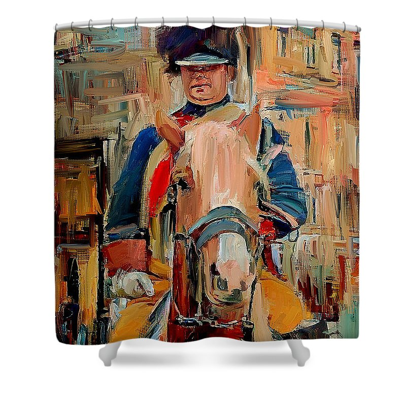 London Shower Curtain featuring the digital art London Guard On Horse by Yury Malkov