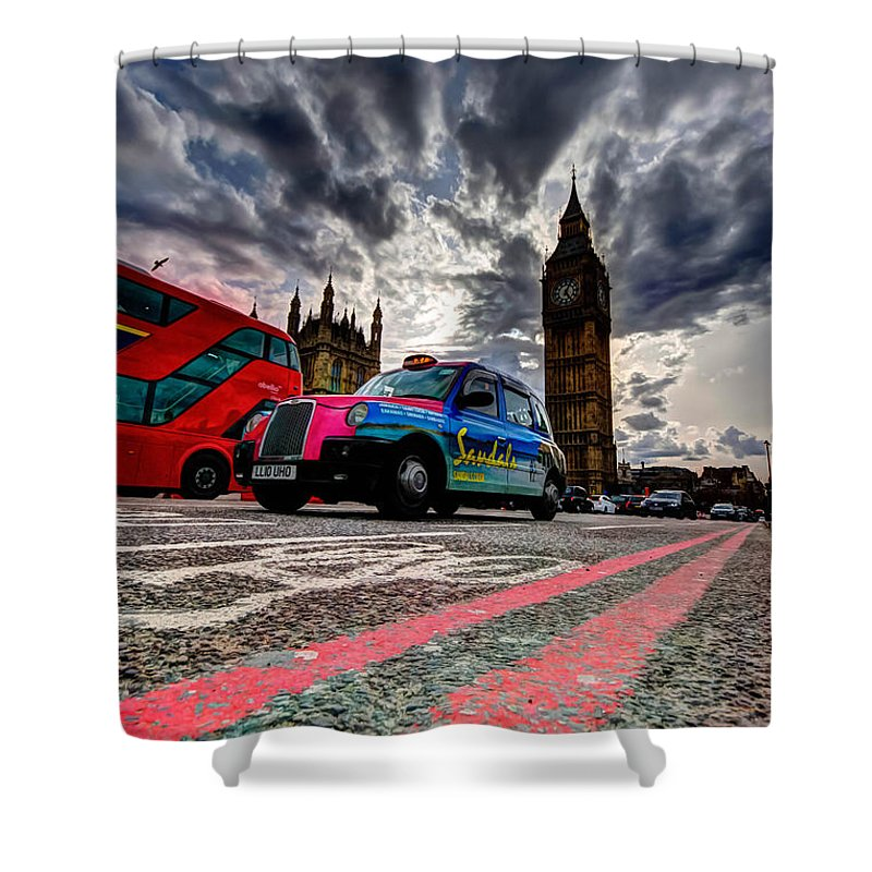 Travel Shower Curtain featuring the photograph London In One Picture by Richard Herczeg