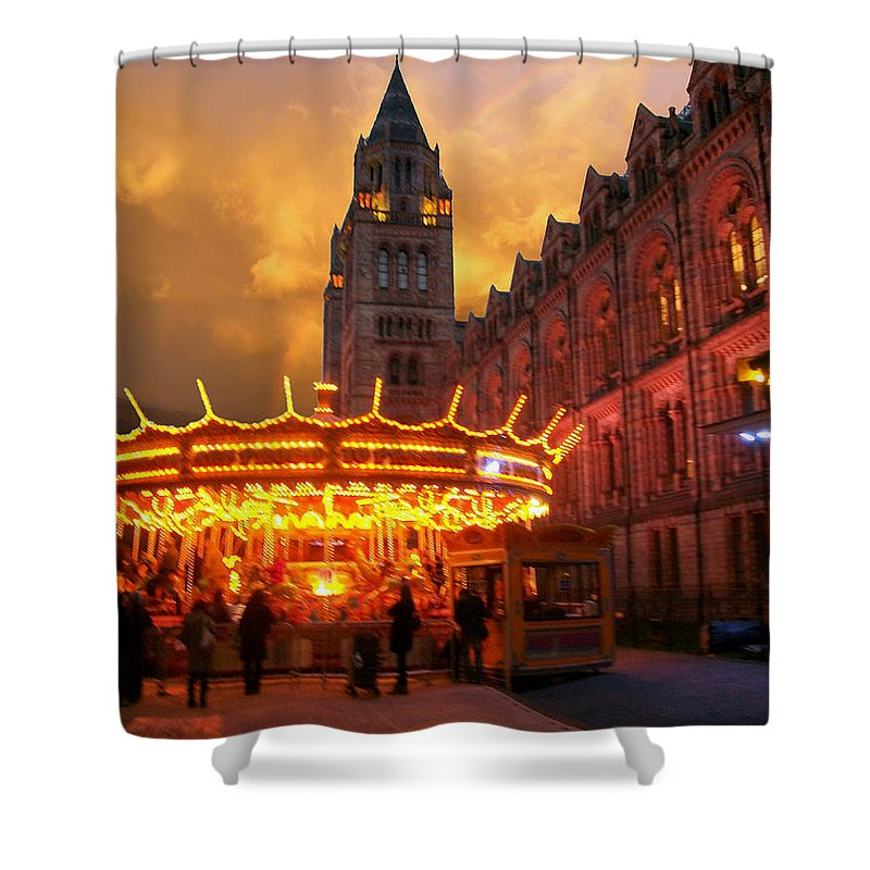 Shower Curtain featuring the photograph London Museum At Night by Munir Alawi