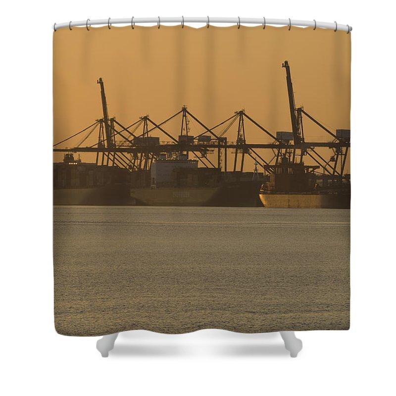 Thamesport Shower Curtain featuring the photograph London Thamesport by Chris Pickett