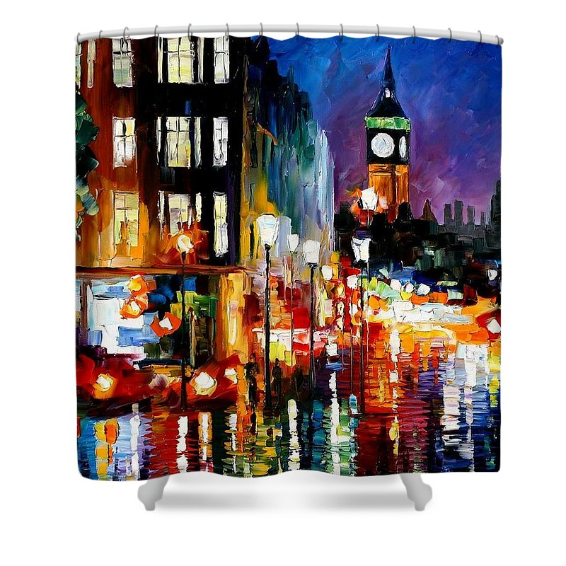 Afremov Shower Curtain featuring the painting London's Lights by Leonid Afremov