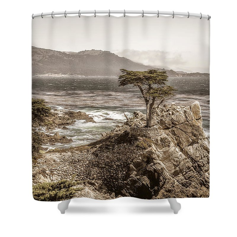 17 Shower Curtain featuring the photograph Lone Cypres by Maria Coulson
