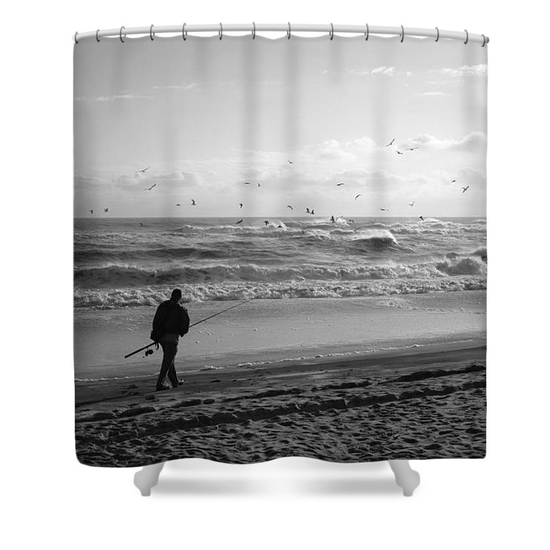 Sea Shower Curtain featuring the photograph Lone Fisherman by Linda C Johnson