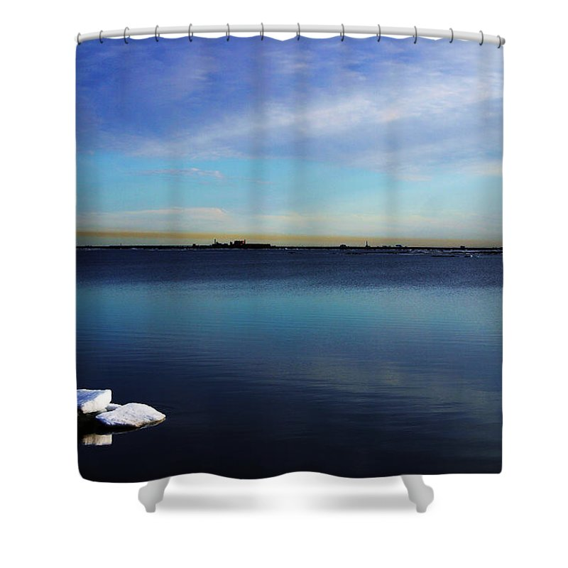 Landscape Shower Curtain featuring the photograph Lone Ice by Anthony Jones