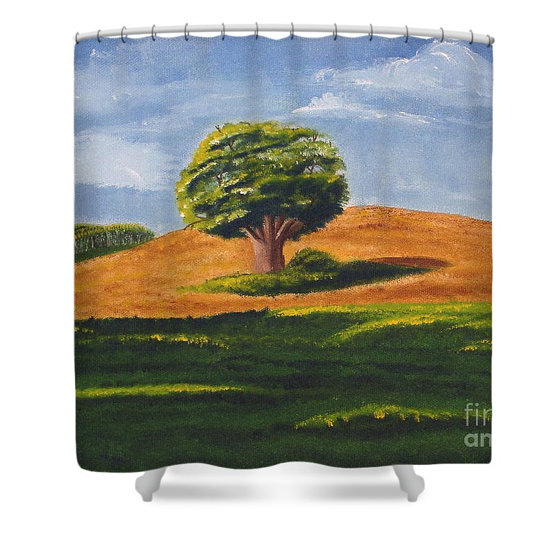 Tree Shower Curtain featuring the painting Lone Tree by Mendy Pedersen
