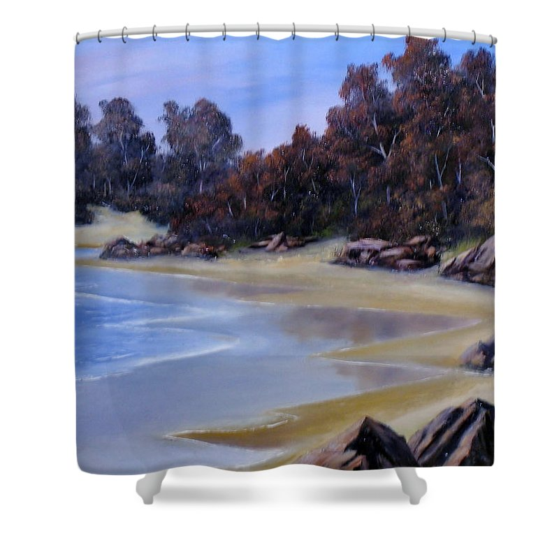 Beach Shower Curtain featuring the painting Lonely Beach by John Cocoris